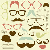 Retro Party set - Sunglasses, lips, mustaches — Vettoriale Stock