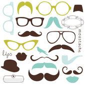 Conjunto de festa retro - óculos de sol, os lábios, bigodes — Vetorial Stock