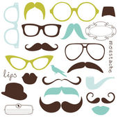 Retro Party set - Sunglasses, lips, mustaches — Stock Vector