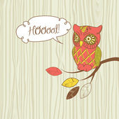 "Cute Vector Owl. ""Hoot"" card — Stock Vector"