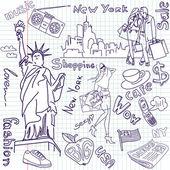 Shopping in New York doodles — Stock Vector