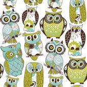 Seamless owl pattern. — Stock Vector