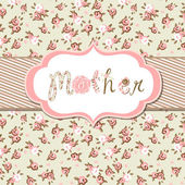 "Hand drawn Vector floral frame with a word ""mother"". — Stock Vector"