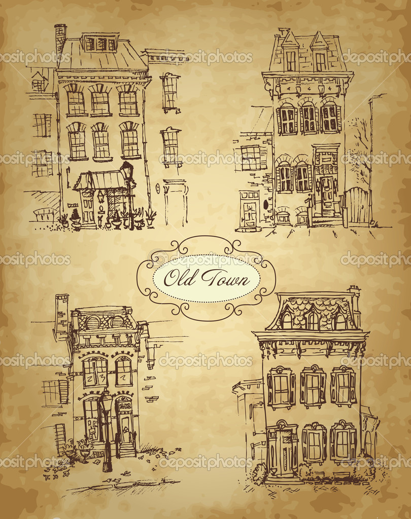 Set of old hand drawn houses. 4 Stylish town houses with pattern of real paper — Stock Vector #10377090