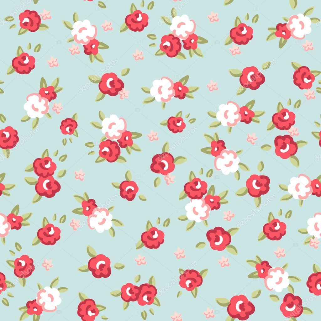 English Rose, Seamless Wallpaper Pattern With Pink Roses