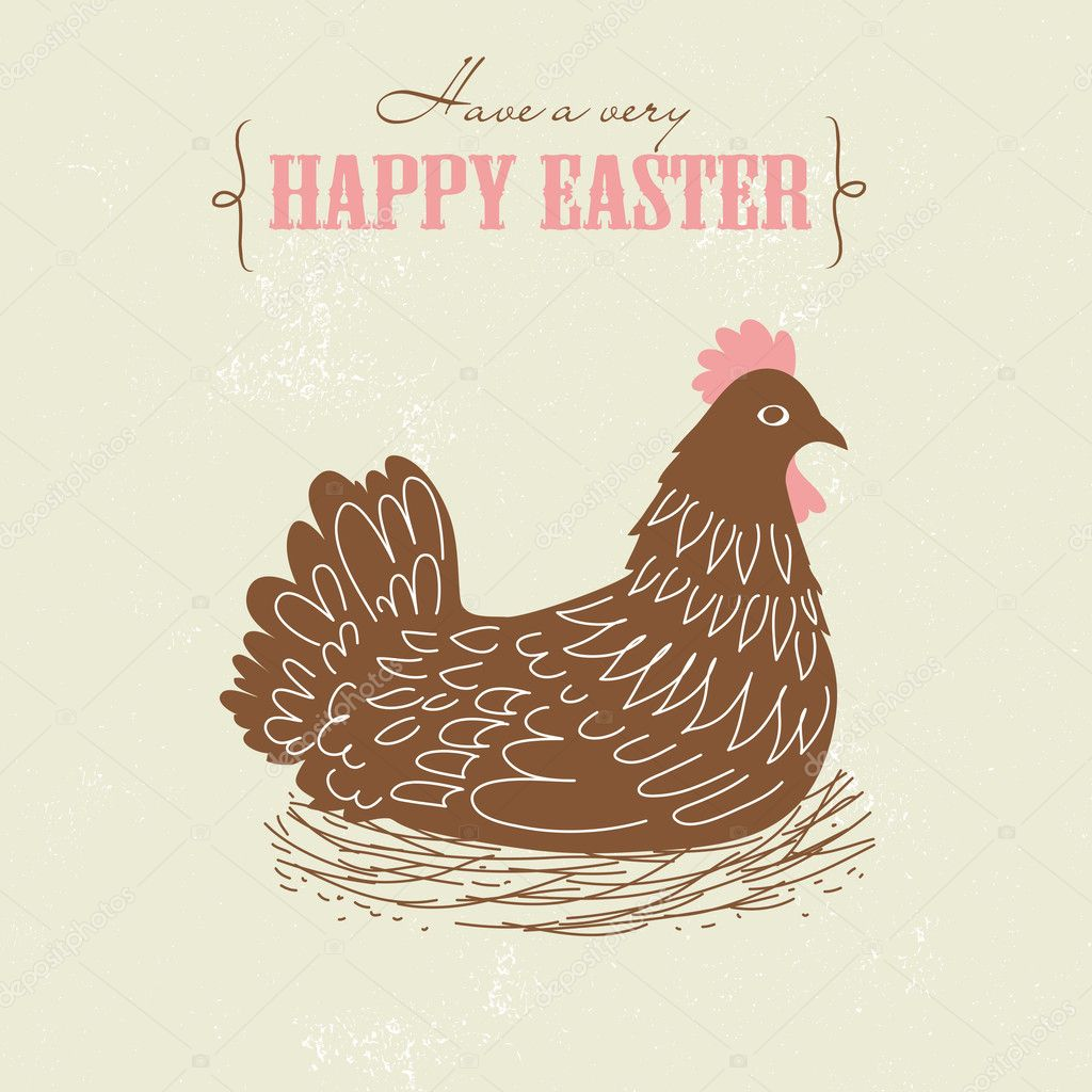 Cute Easter card with chicken — Stock Vector #10377207