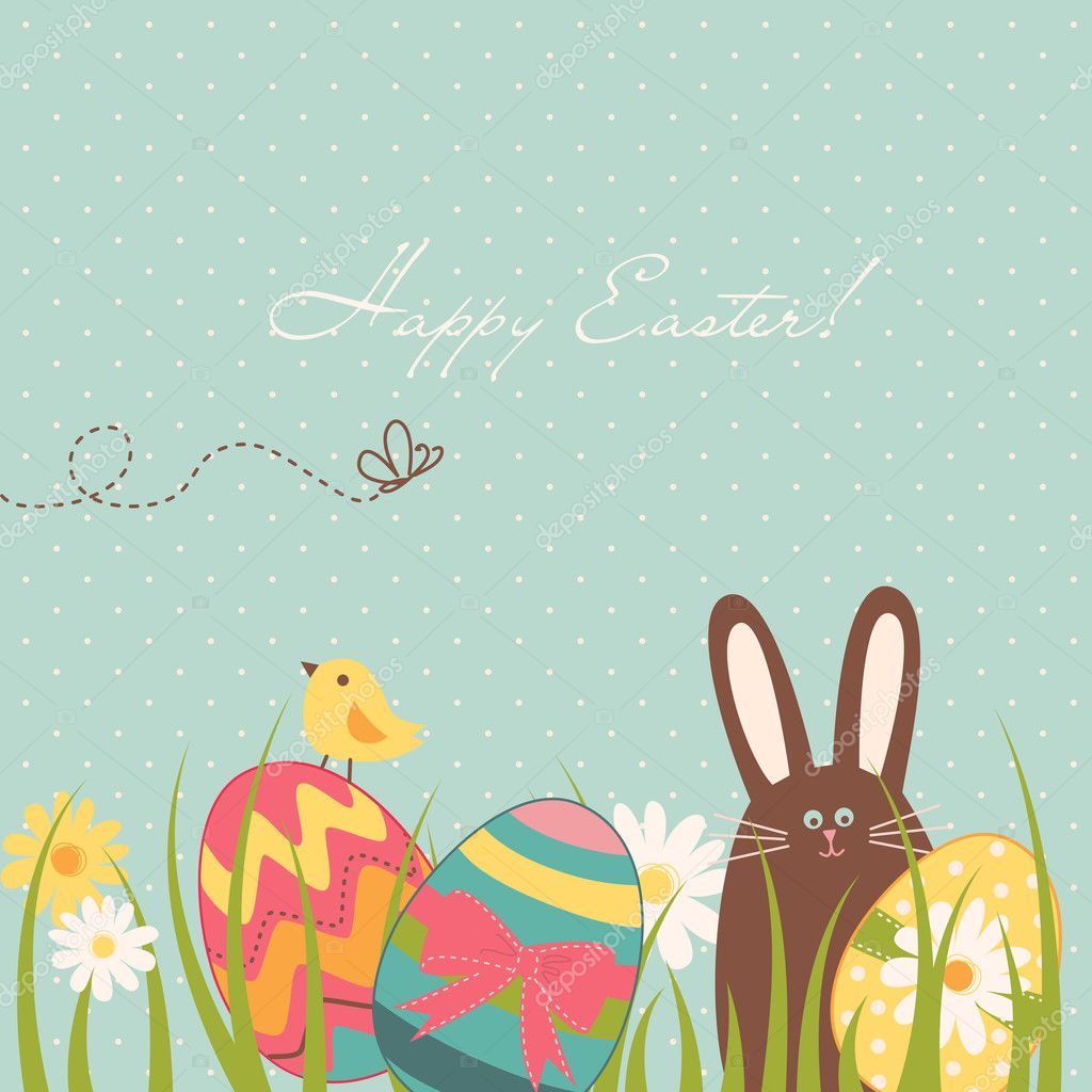 Easter Background with cute chocolate rabbit, colourful eggs and a chick  Stock Vector #10377484