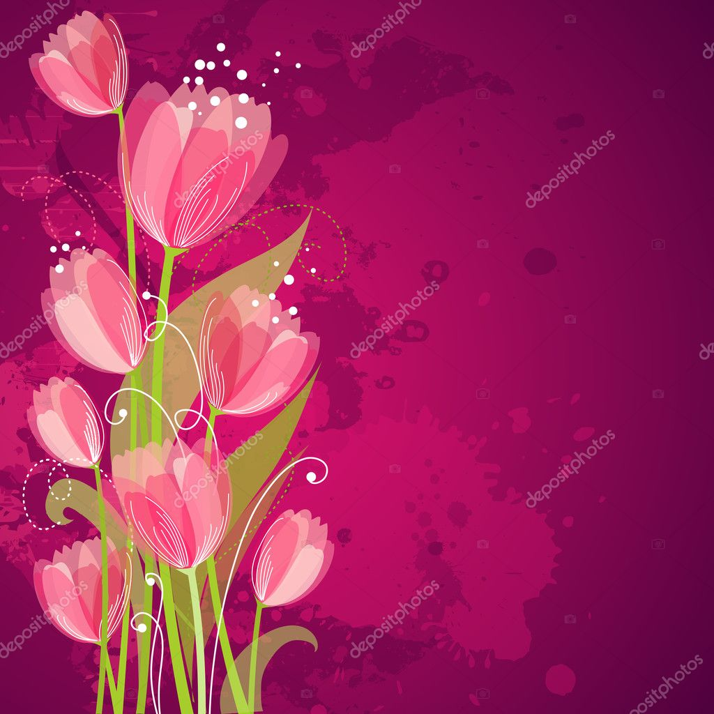 Floral background with tulips  Stock Vector #10377654
