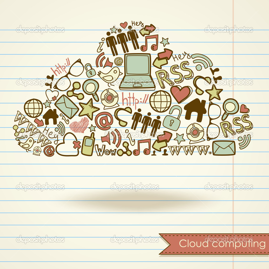 Cloud computing concept and social media — Stock Vector #10377657