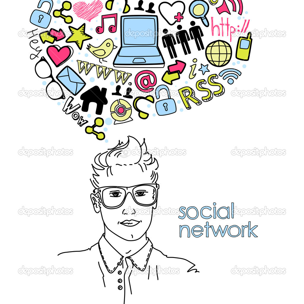 Social network doodles. Handsome men with thought bubble — Stock Vector #10377676
