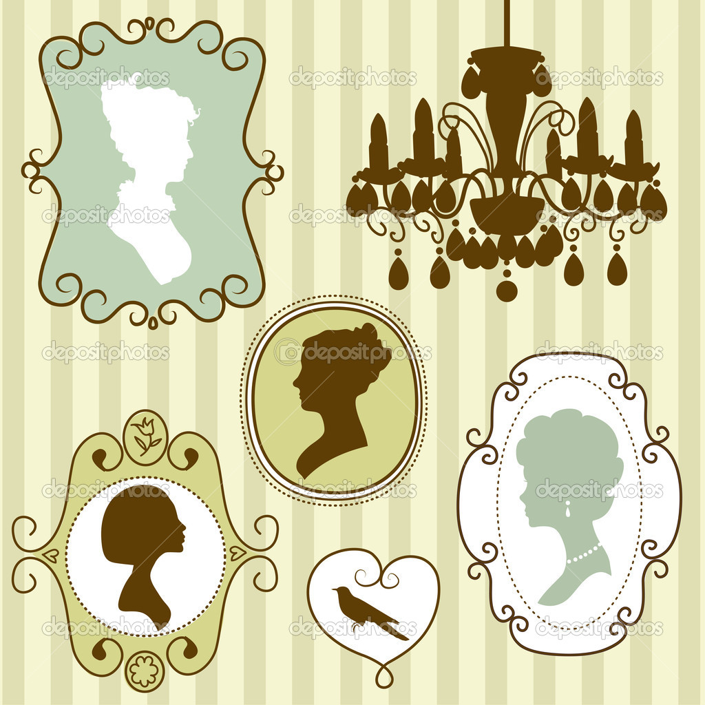 Cute vintage frames with ladies silhouettes — Stok Vektör #10377691