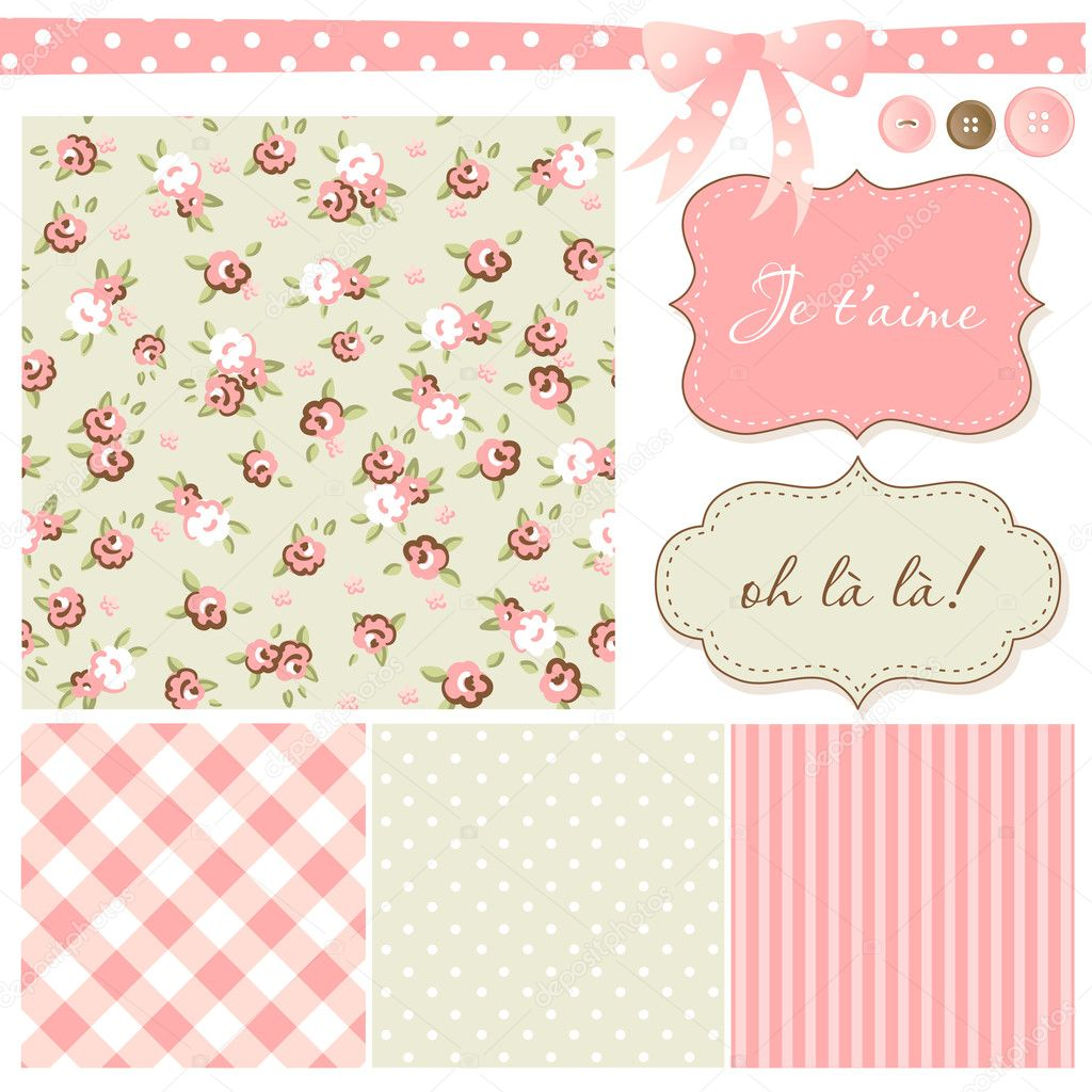 Vintage Rose Pattern, frames and cute seamless backgrounds. Ideal for printing onto fabric and paper or scrap booking. — Stock Vector #10377715