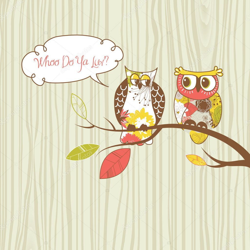 Two pretty owls sitting on the branch. — Stock Vector #10377807