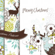 Stock Photo: Set of Creative Christmas patterns with deers and flowers