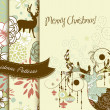 Set of Creative Christmas patterns with deers and flowers — Stock Photo