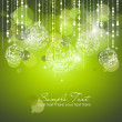 Stock Photo: Green Christmas Background with Christmas ornaments