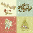 Set of Christmas Cards in vintage style — Stock Photo