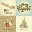 Set of Christmas Cards in vintage style — Stock Photo #8068199