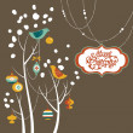 Retro Christmas card with two birds, white snowflakes, winter trees and bau — Stock Photo