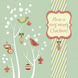 Retro Christmas card with two birds, white snowflakes, winter trees and bau — ストック写真