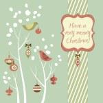 retro vánoční přání s dvěma ptáky, bledule, zimní stromy a bau — Stock fotografie