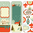 Cute Vertical Christmas banners in retro style — Stock Photo