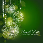 Green Christmas Background with Christmas ornaments — Stock Photo