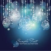 Blauwe kerstmis achtergrond met kerst ornamenten — Stockfoto