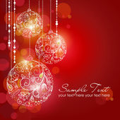 Red card with christmas balls, vector illustration — Stock Photo