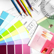 Foto Stock: Color swatches and plans