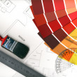 Color swatches and plans — Stock Photo #8095478