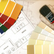 Color swatches and plans — Stock Photo #8095514
