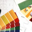 Color swatches and plans — Stock Photo #8095525