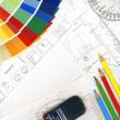Color swatches and plans - Foto de Stock