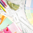 Color swatches and plans — Stock Photo #8095679