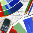 Color swatches and plans — Stock Photo #8095691