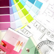 Color swatches and plans isolated on white — Stock Photo