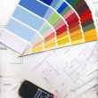 Stock Photo: Color swatches and plans isolated on white