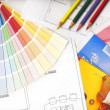 Color swatches and plans — Stock Photo #8096156