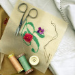 Sewing needle with bobbins of cotton thread and needlework — ストック写真