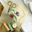 Sewing needle with bobbins of cotton thread and needlework - Stock Photo