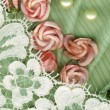 Vintage background with pink flowers - Stock Photo