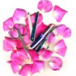 Makeup brush and cosmetics with pose petals — Stock Photo