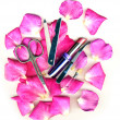 Makeup brush and cosmetics with pose petals — Stockfoto