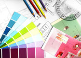 Color swatches and plans — Stock Photo
