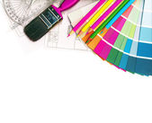 Color swatches and plans — 图库照片