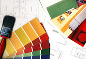Color swatches and plans — Stockfoto