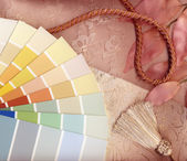 Neutral and pink interior decoration plan with swatches — Stock Photo