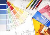 Vzorník barev a plány — Stock fotografie