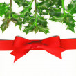 Christmas Card with Holly and Red Bow — Stockfoto